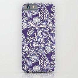 Bold Textured Monochrome Indigo Linework Floral iPhone Case
