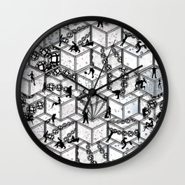 Pop Art style cube and ball shapes with silhouette of humen figuers generat Pattern 22 Wall Clock