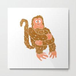monkey sitting.chimpanzee cartoon. Metal Print