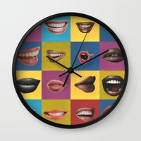lip Wall Clocks featuring Lip Pop by wrkdesigns
