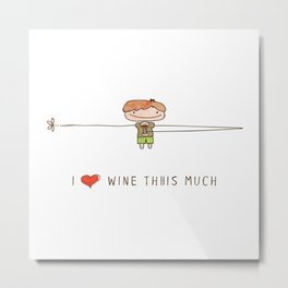 I love wine boy Metal Print