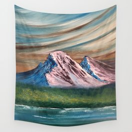 Pink and Blue Mountains Wall Tapestry