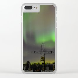 Ghostly Northern Lights Clear iPhone Case