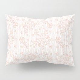 Elegant pink white pastel color chic floral lace Pillow Sham