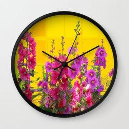 Pink Flower Garden & Golden Panel Oriental Style Screen Background Wall Clock