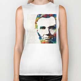 Abraham Lincoln Art - Colorful Abe - By Sharon Cummings Biker Tank