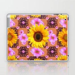 Western Style Burgundy Sunflower Art in Pink Laptop & iPad Skin