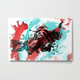Tiger blue red 4 Metal Print