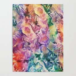 Bright Cheerful Mulitcolor Floral Abstract Poster