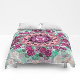 Happy pistachio green background Comforters