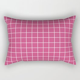 Fuchsia rose - fuchsia color -  White Lines Grid Pattern Rectangular Pillow