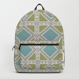 Teal and Moss Green on Grey Backpack