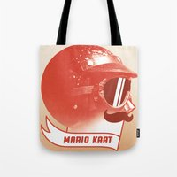 mario kart Tote Bags featuring Mario Kart by Chase Kunz