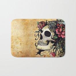 Rose Skull Watercolor Retro Tattoo Flash by Agorables Bath Mat