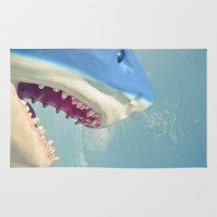 shark Area & Throw Rugs featuring Shark! by Cassia Beck