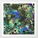 Deep In Thought - Black, blue, purple, white, abstract, acrylic paint splatter artwork by printpix