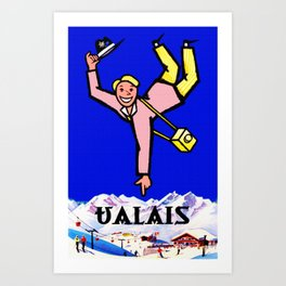 Vintage Valais Switzerland Travel Poster Art Print