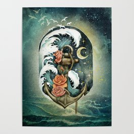 Navigate waves and stars Poster
