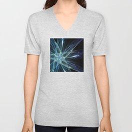 Aqua-Blue Ice Crystals Star Fractal Art Unisex V-Neck