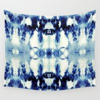 tie dye Wall Tapestries featuring Tie Dye Blues by Nina May Designs
