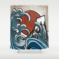 hokusai Shower Curtains featuring Hokusai comic by Nxolab