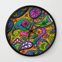 paisley Wall Clocks featuring Paisley by Shelly Bremmer