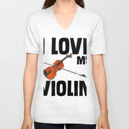 I love my violin musical Unisex V-Neck