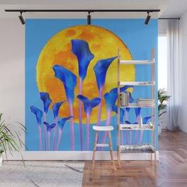 GOLDEN FULL MOON BLUE CALLA LILIES BLUE ART Wall Mural