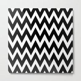 Modern black white geometrical chevron zigzag pattern Metal Print