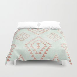 mint & coral tribal pattern Duvet Cover