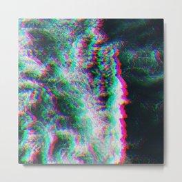 Oceanic Glitches - Splash of Greenery Metal Print