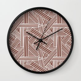 Sketchy Abstract (White & Brown Pattern) Wall Clock