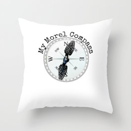 Morel Compass Mushroom Humor for Mycologists Throw Pillow