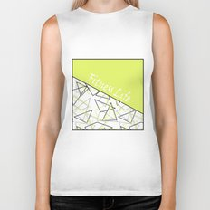 The fitness club . Sport . Lemon white creative sport pattern . Biker Tank