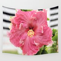 hibiscus Wall Tapestries featuring Hibiscus by Christine Aylen