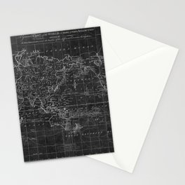 Black and White World Map (1799) Inverse Stationery Cards