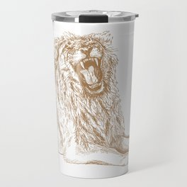 Back Off, Please in Gold   Roaring Lion Drawing Travel Mug