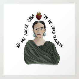 Frida from Another Planet - White Art Print