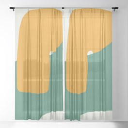Orange and green abstract wrap Sheer Curtain