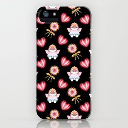 Copy of Lovely cute adorable baby penguins with flapping wings, retro vintage red lollipops iPhone Case