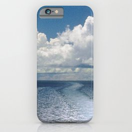 Dramatic Boat Wake to the Horizon and Clouds iPhone Case