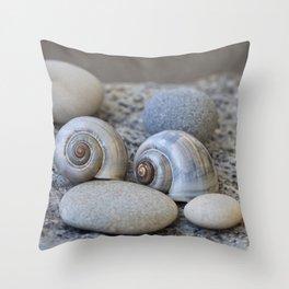 Zen Still Life Shells And Pebble Throw Pillow