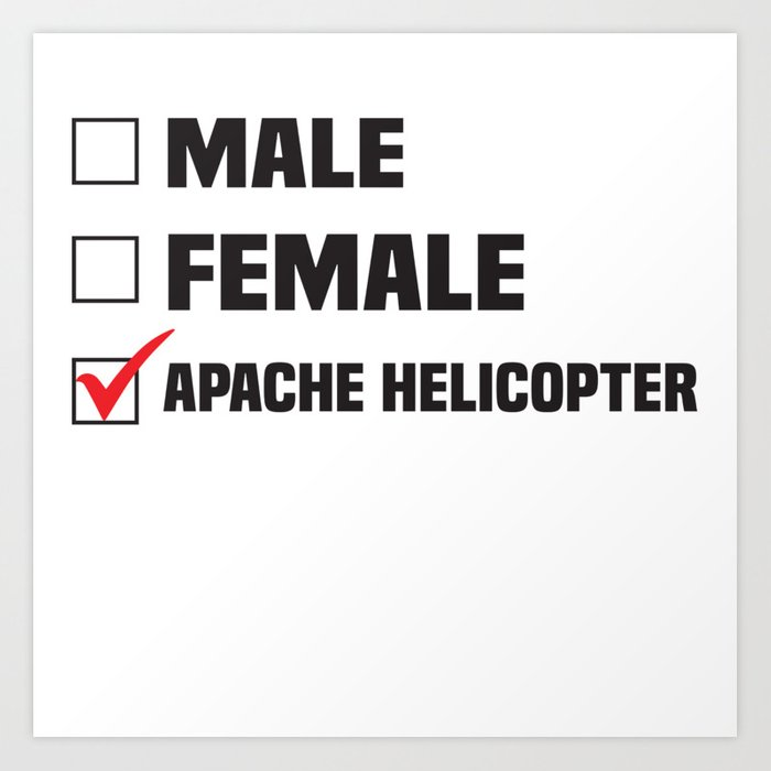 Male Female Apache Helicopter  Art Print by eliasgarbe