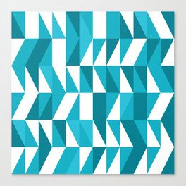 Blue triangulated geometric Abstract Pattern Canvas Print