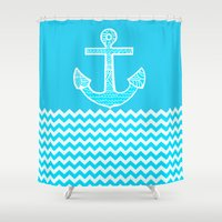 anchor Shower Curtains featuring Anchor by haroulita