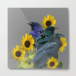 THREE CROWS/RAVENS  YELLOW SUNFLOWERS ON GREY ART Metal Print