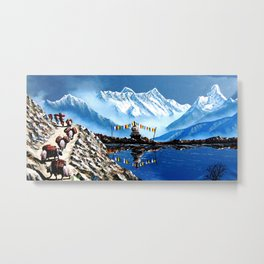 Panoramic View Of Annapurna Mountain Nepal Metal Print