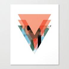 Three Triangles Geometric in Coral Canvas Print