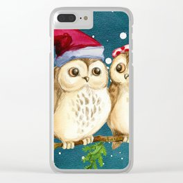 Christmas Owls (Color) Clear iPhone Case