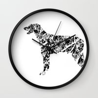 doberman Wall Clocks featuring Doberman Scribble by Jake Stanton